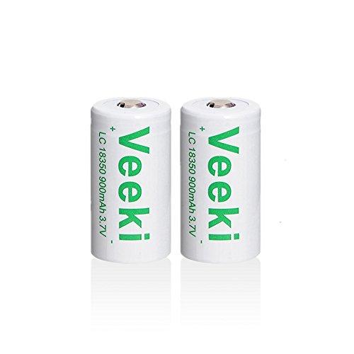 18350充電式電池 3.7V、900mAh 電池2本 リチ...