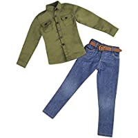 Lovoski 12インチ男性アクションフィギュア対応 グリーン 長袖シャツ ジーンズ ズボン ベルト 1/6スケール服セット