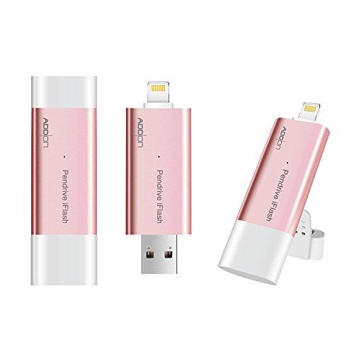 Addonライトニング USB3.0メモリーフラッシュドライブ 【iPod / iPhone / iPad 対応 MFI認証】コネクター付き(ローズゴールド,64G)
