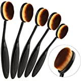Elite Oval Tooth Design Makeup Brush Set For Applying Cosmetic Products Amazing Set (5Pcs Rose Golden-Large)