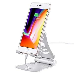 HAWEEL スマホ スタンド/タブレット 充電スタンド 360度回転折り畳み式 角度調整可能 滑り止め アルミ製デスクトップホルダー スマホホルダー ノートパソコン、タブレット用 iPad, iPhone, Galaxy, Huawei, Xiaomi, HTC, Sony,その他の携帯電話に対応 タブレットスタンド (シルバー)