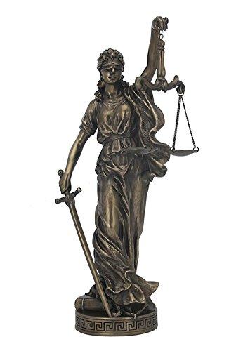 古代ギリシア(ローマ)女神 ラ・ジャスティシア 正義の女神(テミス、テーミス)法の番人 左手ブロンズ風 彫像 彫刻 ヴェロネーゼ
