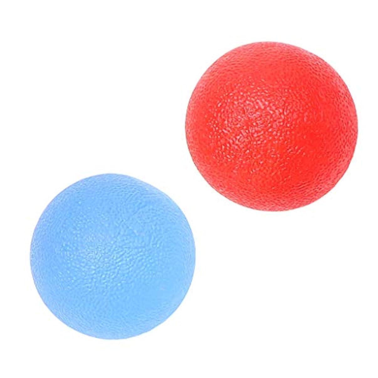 不愉快に刺繍貧困ハンドグリップ ボール シリコン マッサージ 指トレーニング ストレス緩和 赤/青 2個入