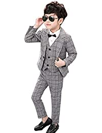 Ymgot キッズ フォーマル スーツ 男の子 3点セット 子供服 フォーマル 紳士服 チェック柄 卒園式 入園式 発表会 卒業式 七五三