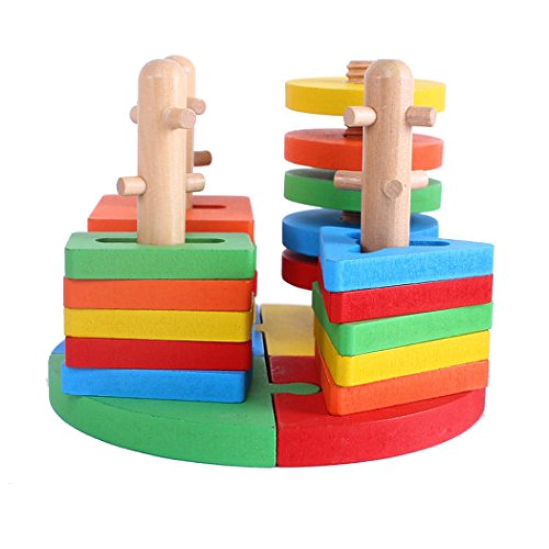 joyeeeクリエイティブ木製色と形状幾何ソートボード# 3 – スタック&ソートパズルおもちゃ – 完璧なクリスマスギフトIdea