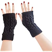 BIGBOBA Solid Color Simple Half Finger Gloves Monochrome Knitted Wool Warm Short Sleeve Anniversary Gifts Valentine's Day for Men and Women Couple