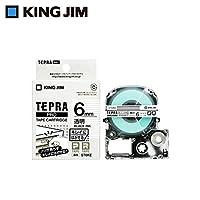 ノリが残らずキレイに剥がせる☆ キングジム 「テプラ」PROテープカートリッジ キレイにはがせるラベル 透明/黒文字 6mm ST6KE 〈簡易梱包