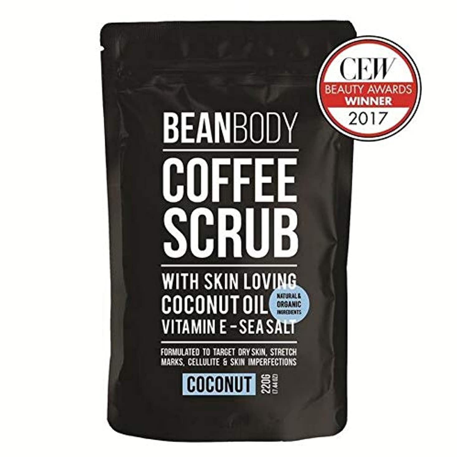 写真を描く飲食店タクト[Bean Body ] 豆のボディコーヒースクラブ、ココナッツ220グラム - Bean Body Coffee Scrub, Coconut 220g [並行輸入品]