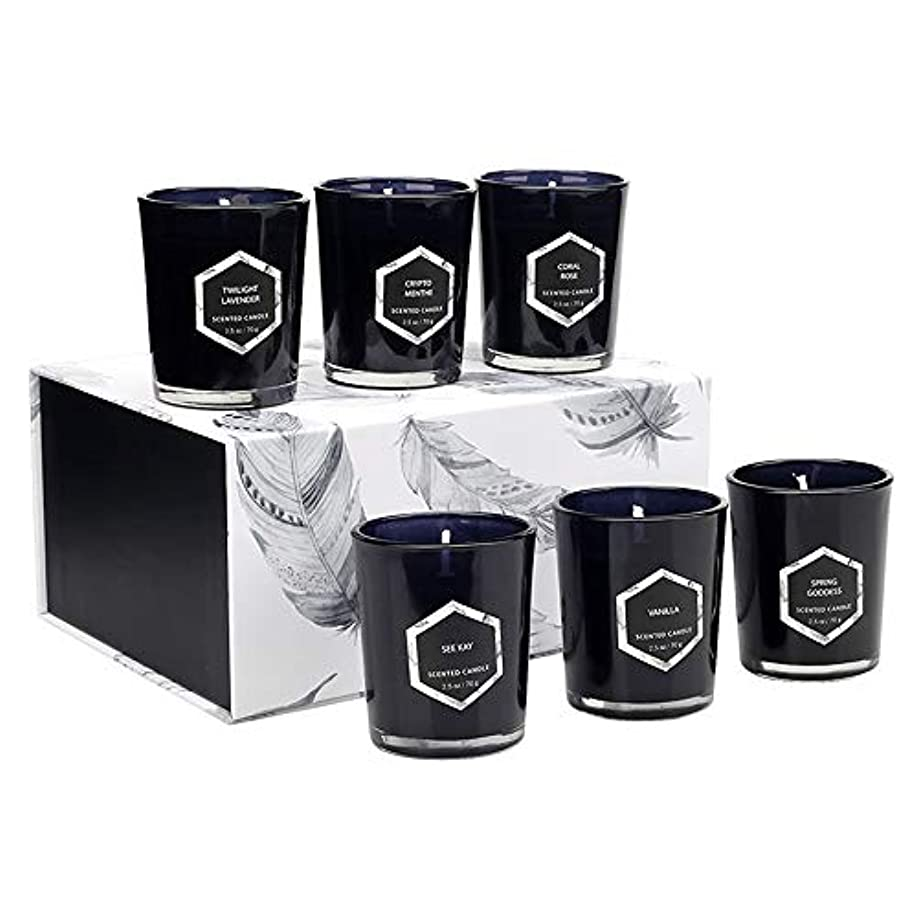 香り付きキャンドルギフトセット、ヨガバスリラックスまたはクリーンエアー用の天然大豆ワックスで作られたアロマセラピーキャンドル、6個