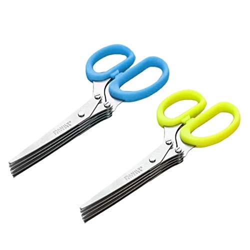 SZB キッチンバサミ シュレッダーハサミ ねぎはさみ 5連はさみ 5枚刃 万能はさみ 野菜カッター 秘密を守りきります (ブルー)