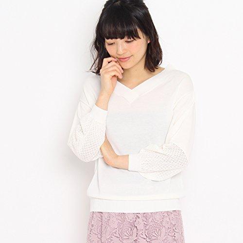 (クチュールブローチ) Couture Brooch 【WEB限定・80%OFF】Vネック透かし編みニットトップス 50812401 38(M) オフホワイト(003)