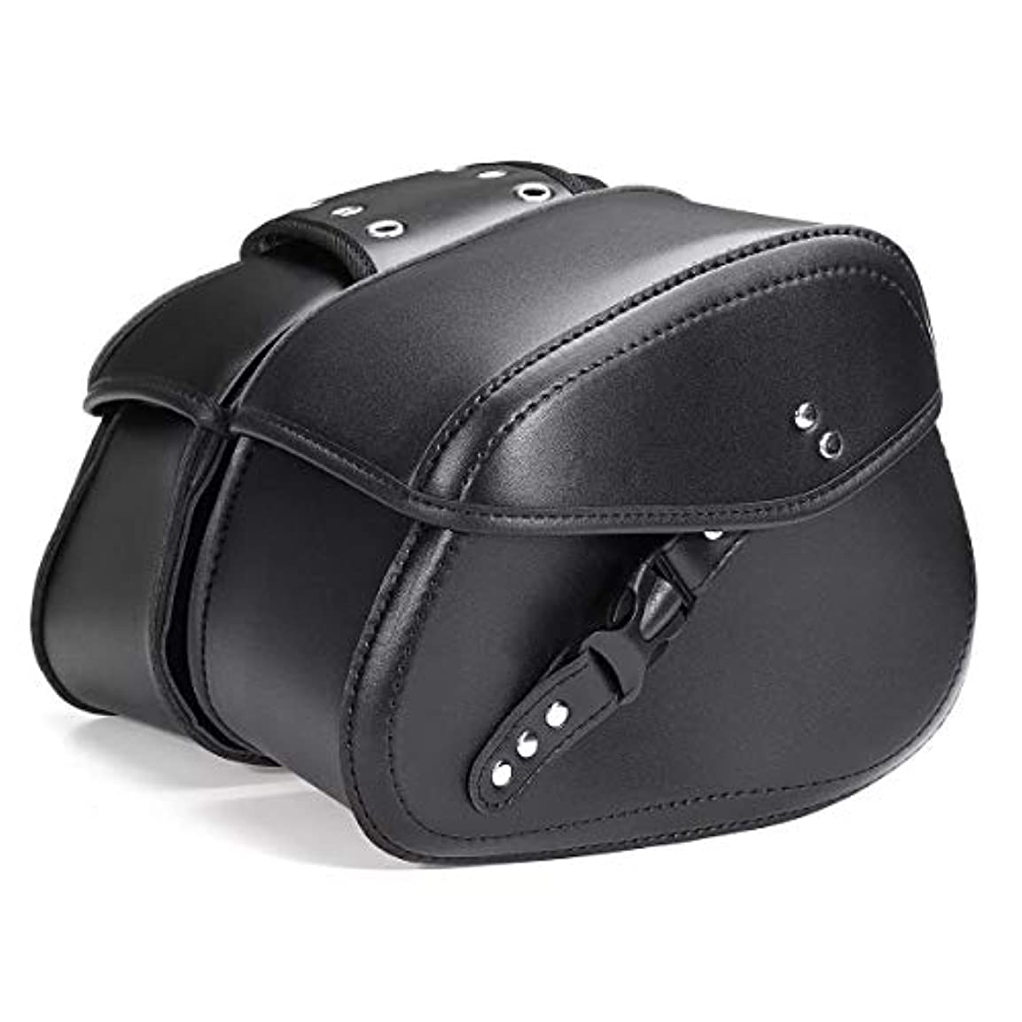 の頭の上オプショナル化合物バイクバッグ?ケース ハーレーのために耐久性のあるユニバーサルオートバイのサドルPUレザースモールサイドストレージツールバッグ ユニバーサルフィット (Color : Black, Size : Free size)