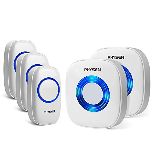 ワイヤレスチャイム PHYSEN 呼び出しチャイムセット 最高300Mの無線範囲 呼出音楽52メロディー選択可 ドアベル 呼び鈴玄関 モデルCW (受信機2個 押しボタン送信機3個)