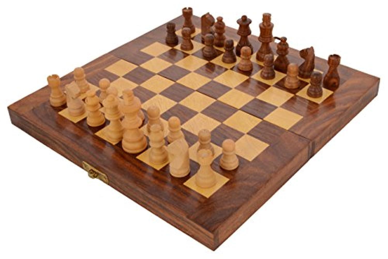 Saagaの木製チェスセット折りたたみ式チェスボードとピーストラベルセット/ハンドメイド: 10 x 10 x 1.5インチ( LxBxH )