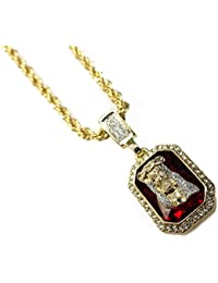 14 KゴールドメッキJesus Face Rubyペンダントファッションネックレス