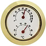 JVSISM Household Metal Thermometer Hygrometer for Room Temperature Humidity Meter Gold