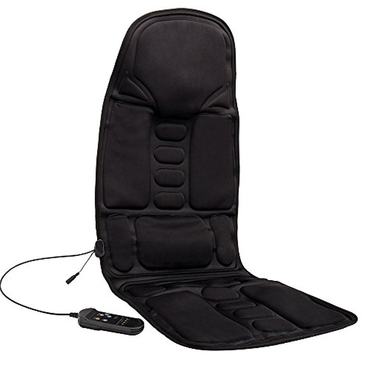 意図的一晩なだめるKindness マッサージシート ヒーター搭載 高品質PUレザー製 どこでもマッサージャー オフィス 旅行 ホーム 車シート ギフト ブラック