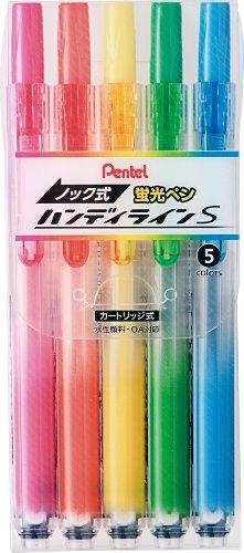 ぺんてる 蛍光ペン ノック式 ハンディラインS SXNS15-5