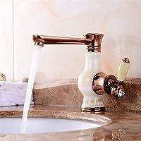 洗面器タップヨーロッパスタイルの翡翠蛇口ゴールド盆地ホットとコールド水蛇口シンクレトロ回転蛇口単穴蛇口 (Color : C)