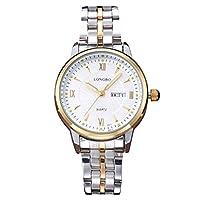 LONGBOエレガント女性の金トーンステンレス鋼バンドつり革ビジネス日付日のカレンダーアナログクォーツ腕時計カジュアルカップルは婦人のための腕時計を整える