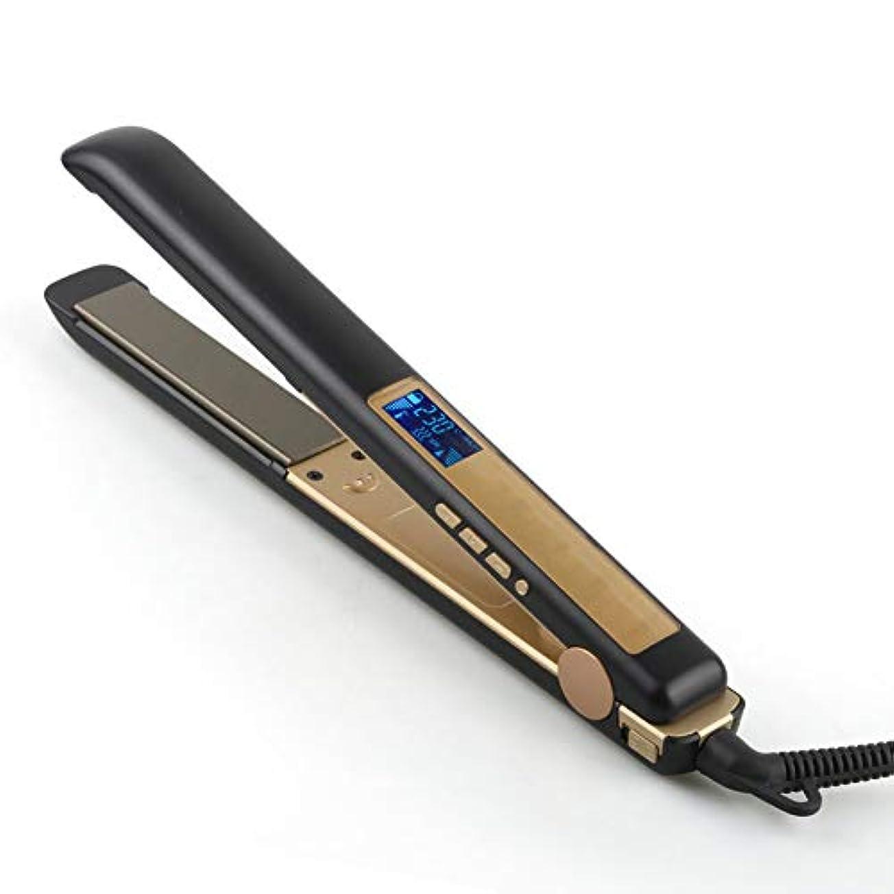 復活する市民限られたデジタルディスプレイセラミックヘアストレートナー温度はLEDディスプレイで調整可能ヘアケアは赤黒ピンクスプリントをスタイリングするショッピングデートの髪を傷つけません (Color : ブラック)