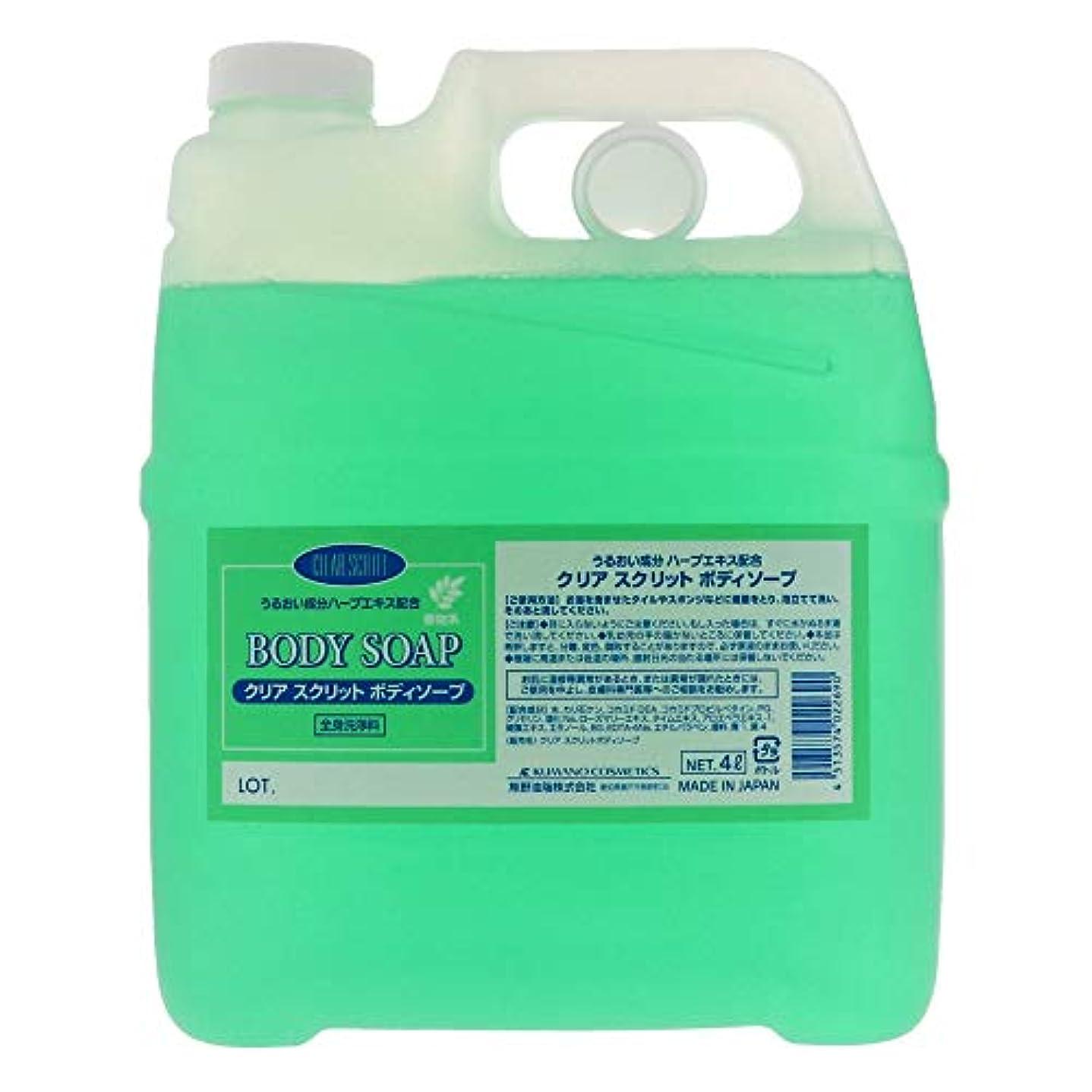 消化申請中処分した熊野油脂 業務用 クリアスクリット ボディソープ 4L