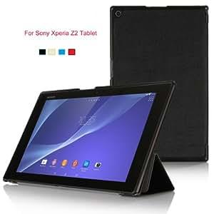 KuGi Sony Xperia Z2 Tablet ケース 薄型 軽量型 マグネット開閉式 専用 カバー docomo SO-05F au SOT21 SGP521 対応 ブラック