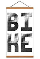 Bike Typography Canvas Wall Art Print Poster Magnetic Hanger Clip Frame 24x12 Inch 自転車タイポグラフィ壁ポスター