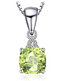 JewelryPalace 1.1ct クッション カット ペリドット ネックレス ペンダント スターリング シルバー925 チェーン 45cm