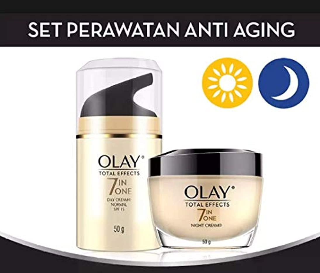 接地冷える傷跡OLAY TOTAL EFFECTS 7IN ONE NORMAL UV SPF15【DAY CREAM】50g+OLAY TOTAL EFECTS NIGHT CREAM 【NIGHT CREAM】50g [並行輸入品]