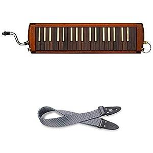 SUZUKI 木製鍵盤ハーモニカ W-37 + ショルダーストラップ 黒×白 波模様 (青海波) KSS-1 セット