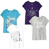 Spotted Zebra by Disney Frozen 2 - Toddler Girls' 4-Pack Short-Sleeve T-Shirts, Born Leader