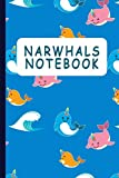 Narwhals Notebook: Blank Half Wide Ruled & Handwriting Book for Kids as Unicorn Of The Sea Fans | Whales Lover