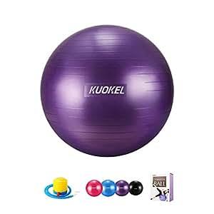 KUOKEL バランスボール ヨガボール 55/65cm 3色 アンチバースト 滑り止め 厚い ポンプ付き 運動 (55cm, パープル)