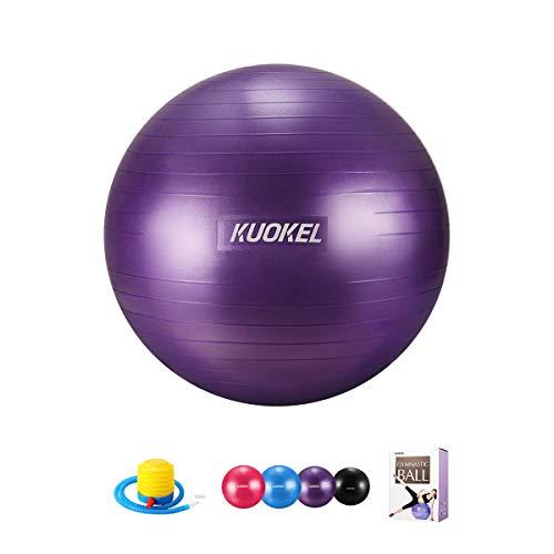 KUOKEL バランスボール ヨガボール 55/65cm 3色 アンチバースト 滑り止め 厚い ポンプ付き 運動 (65cm, パープル)