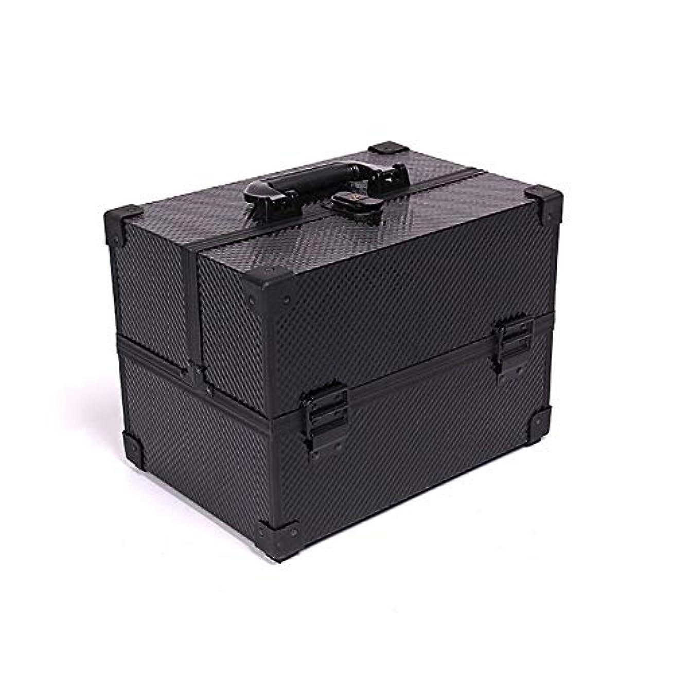 ナインへ木曜日バイナリ化粧オーガナイザーバッグ メイクアップボックスアルミケース美容ボックス美容化粧品フェイクレザーブラック 化粧品ケース