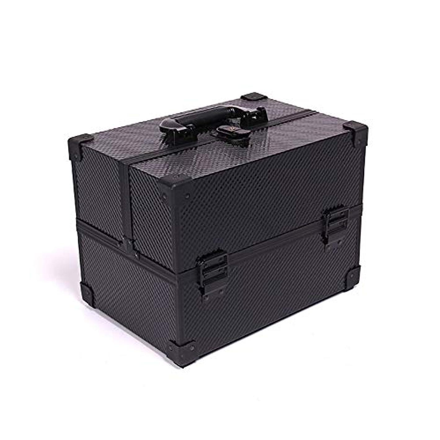 厚くする自動制限化粧オーガナイザーバッグ メイクアップボックスアルミケース美容ボックス美容化粧品フェイクレザーブラック 化粧品ケース