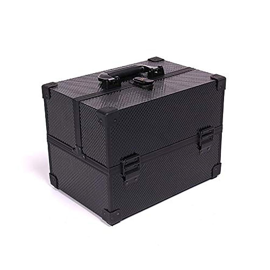 グローブ授業料デッド化粧オーガナイザーバッグ メイクアップボックスアルミケース美容ボックス美容化粧品フェイクレザーブラック 化粧品ケース