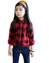 kiyomi 子供服 ガールズ 長袖シャツ チェック柄 女の子