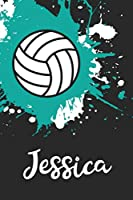 Jessica Volleyball Notebook: Cute Personalized Sports Journal With Name For Girls