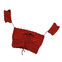 Homyl ビキニカバー 水着 トップス かぎ針編み レディース 欧米風 セクシー 通気性 伸縮性 全2色 - 赤