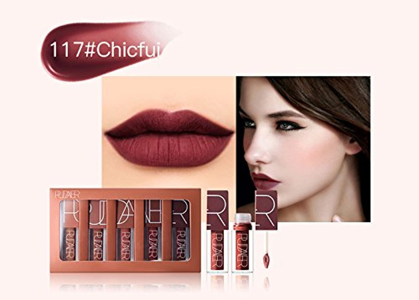 密接に石落ち込んでいるNo #117 Hot Brand Long Lasting Velvet Lips Tint Liquid Lipstick Matte Beauty Cosmetics Sexy Nude Pigment Matte...