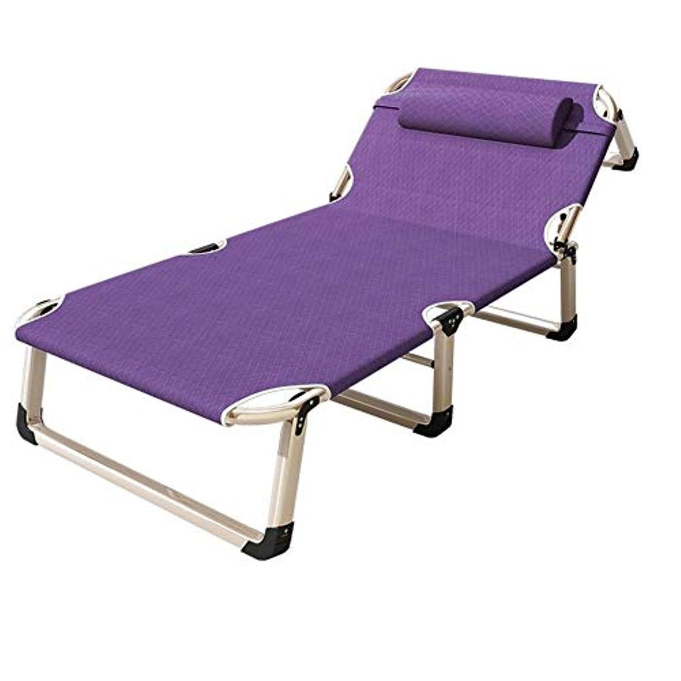 シャッフル怠アサーFULONG 重い人のための枕そしてクッションが付いているキャンプのリクライニングチェアゼロ重力屋外のビーチ芝生の携帯用椅子 (色 : Purple)