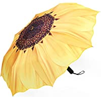 Plemo Automatic Umbrellas, Windproof Sunflower Design Compact Folding Umbrella with Anti-Slip Rubberized Grip, for Business and Travels or Summer Wedding Gifts