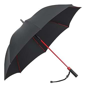 PLEMO 長傘 大きな傘 自動開けステッキ傘 紳士傘 耐風傘 撥水加工 梅雨対策 (ブラック&レッド)