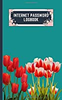 internet password logbook: 5x8 cute internet password book | cool internet password logbook paper with page numbers | internet password logbook | internet password notebook journal paper | tulip spring flower plant teal color