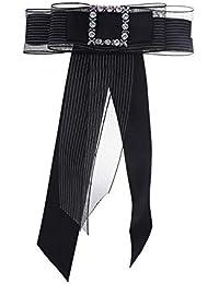ファッション ネクタイ レディースボータイ ソリッドカラー ボウタイ ブローチ クリスタル ちょう結び 服の装飾 多層 ファッション小物 (色 : ブラック)