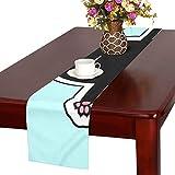GGSXD テーブルランナー 幼い 黒い猫 クロス 食卓カバー 麻綿製 欧米 おしゃれ 16 Inch X 72 Inch (40cm X 182cm) キッチン ダイニング ホーム デコレーション モダン リビング 洗える