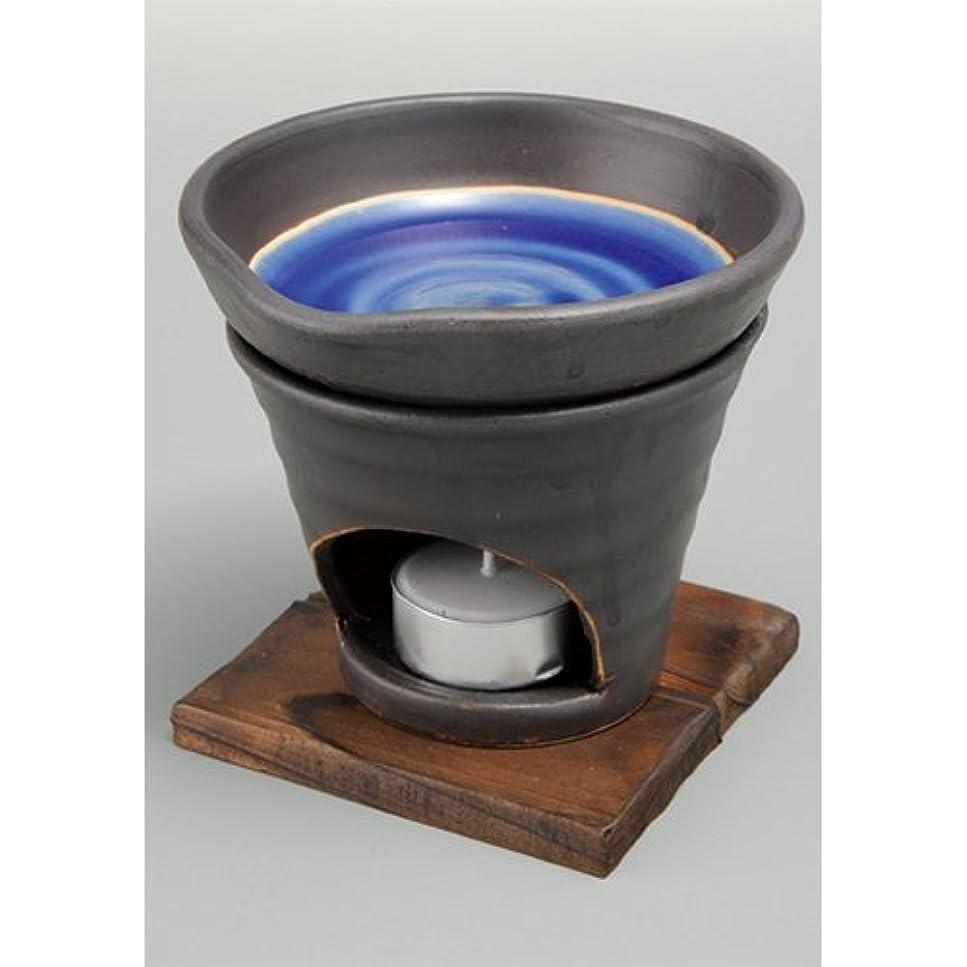 鏡いうアスペクト香炉 黒釉 茶香炉(青) [R11.8xH11.5cm] HANDMADE プレゼント ギフト 和食器 かわいい インテリア