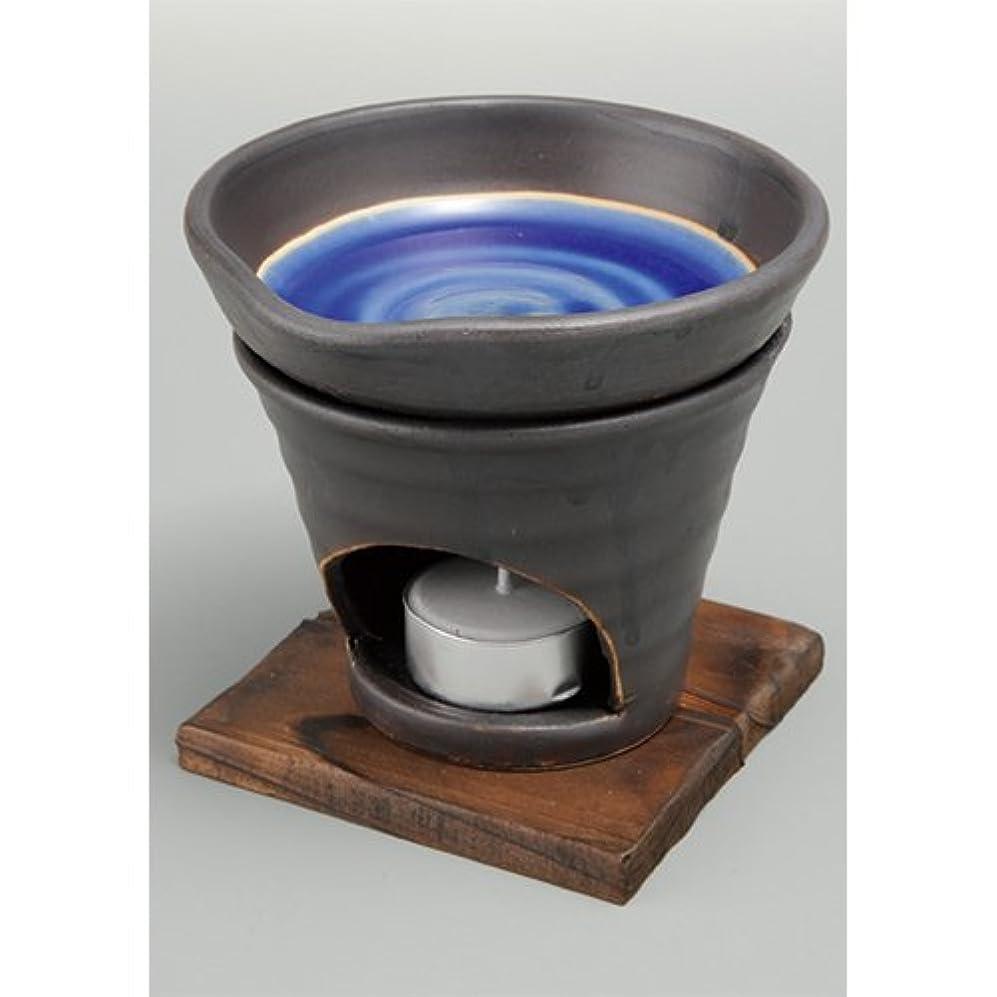 不毛書道刺激する香炉 黒釉 茶香炉(青) [R11.8xH11.5cm] HANDMADE プレゼント ギフト 和食器 かわいい インテリア